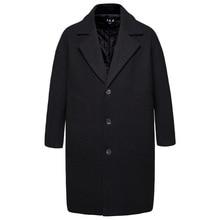 Mens Windbreaker Medium-length Woolen Coat Overcoat