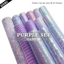 Фиолетовая ткань QIBU из искусственной кожи 22*30 см, объемная блестящая мягкая хлопковая гладкая искусственная кожа, Размер A4, сумки с бантом «...