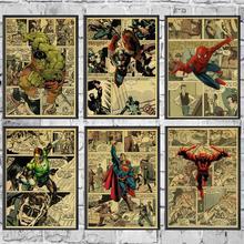 Винтажный Фильм Marvel Super Heroes персонажи ретро-плакаты крафт обои Высококачественная картина для дома/стены/комнаты/бара декора
