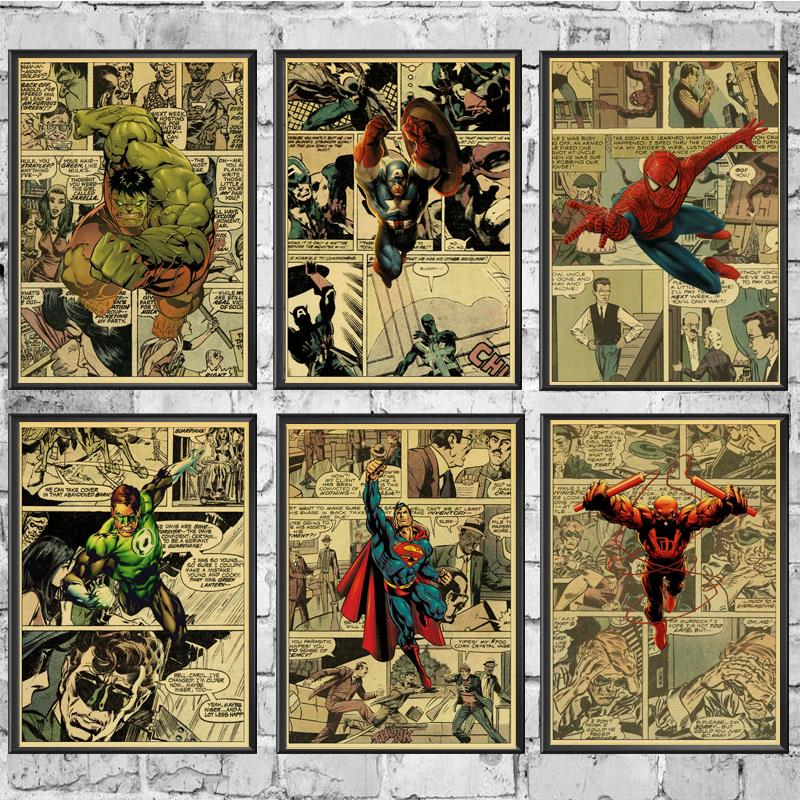 Vintage Marvel Movie Super Heroes Characters Retro Posters Kraft Wall Paper High Quality Painting For Home/ Wall/Room/Bar Decor