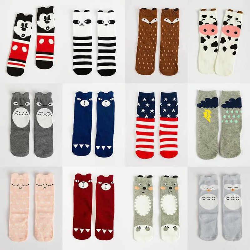 Calcetines antideslizantes de algodón de dibujos animados de animales de gato calcetines de calentadores de piernas para recién nacidos