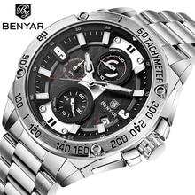 Men's Watches BENYAR 2019 New Top Brand Luxury Quartz Watch Men Stainless Steel Waterproof Chronograph Clock Relogio Masculino