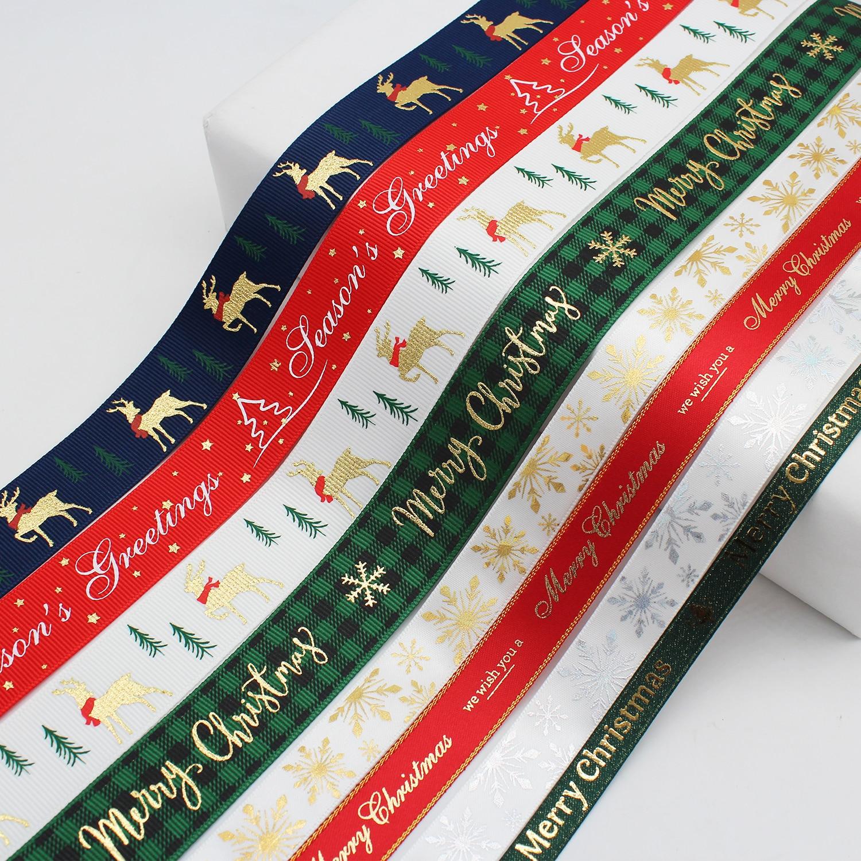 Christmas Ribbon 2020 2020 Christmas Ribbons Gold Print Grosgrain Satin Gingham Merry