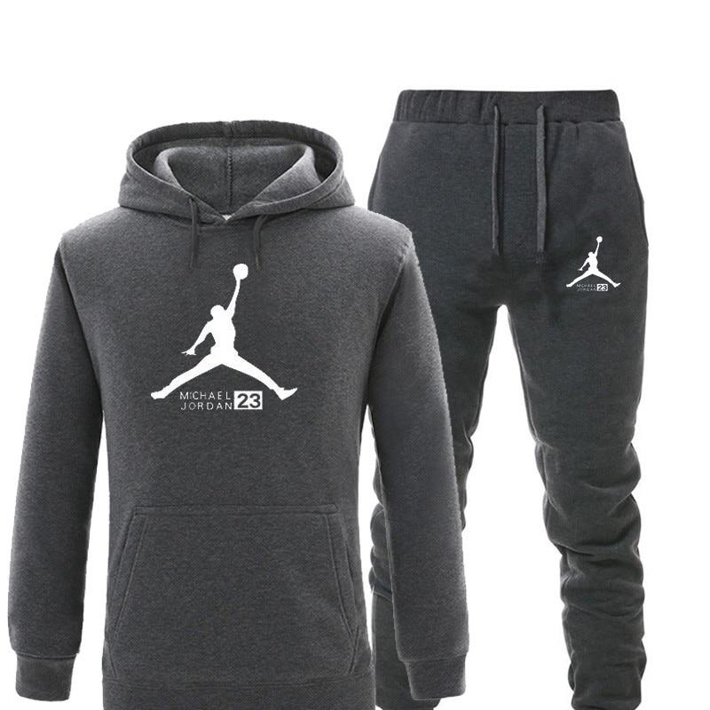 New Tracksuit Men Sets Jordan 23 Hoodie Set Hoodies+sweatpants Men Pullover Hooded Warm Fleece Men Set 2 Pieces Set Sweatshirts