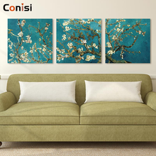 Conisi 3 Panels Classic Wall Art Poster Pirnt Vincent Van Gogh Blossoming Almond Tree on Canvas Paintings Home Decor