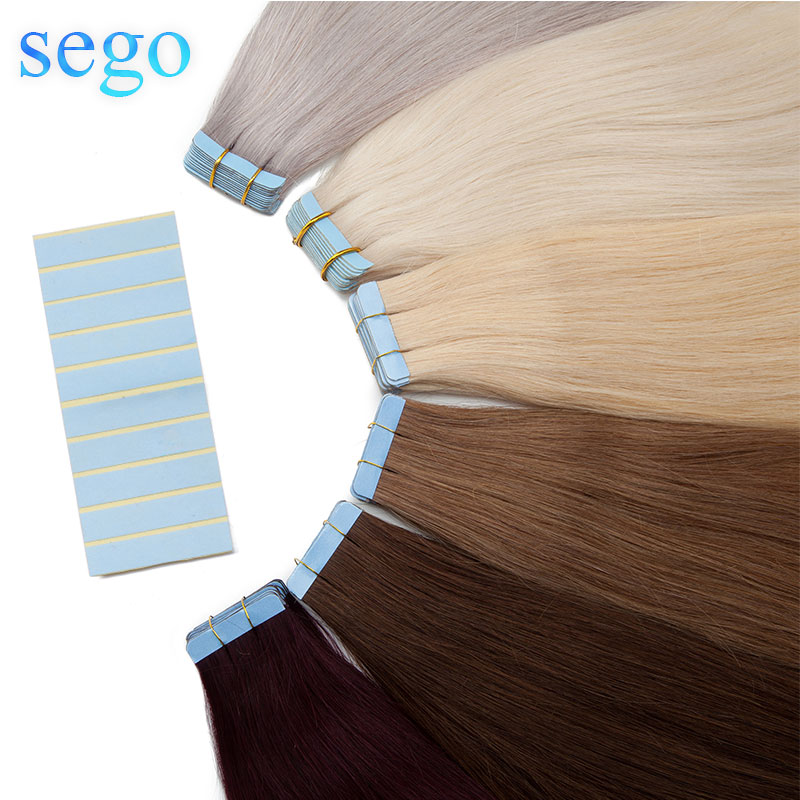 SEGO 2.5g/pc 50g/200g Tape In Hair Extensions Human Hair Remy Straight Skin Weft Hair Seamless Invisible Double Sides Tape ins