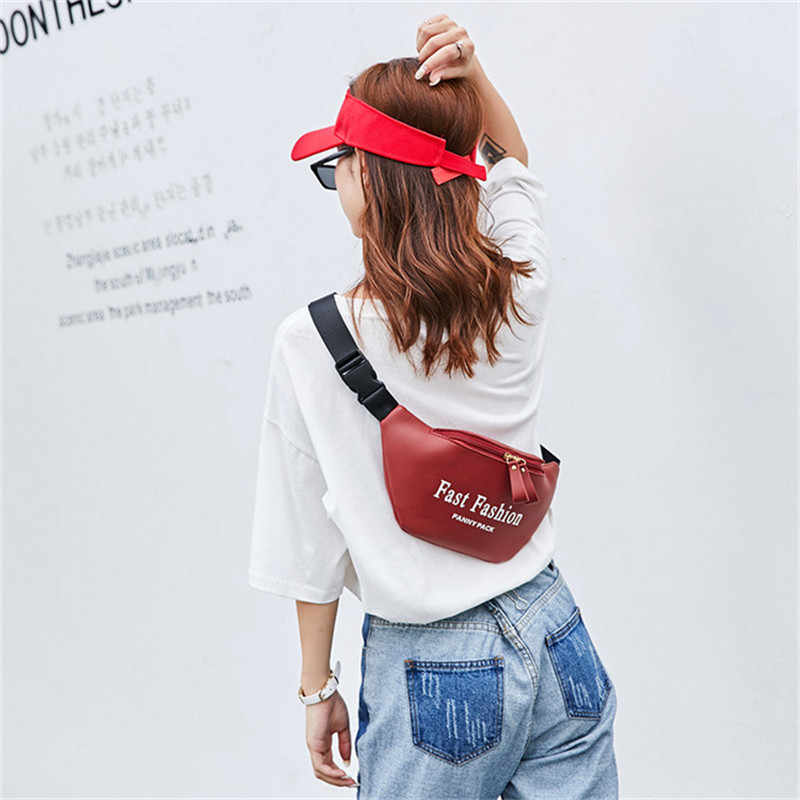 2019 最新のホットユニセックス女性男性ウエストファニーパックベルト旅行バッグ財布チェストポーチ弾丸パックストリートスタイル手紙プリントバッグ