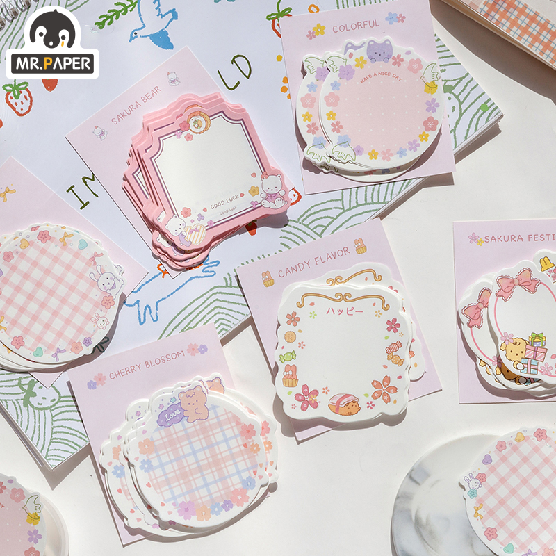 Mr.Paper 30pcs/lot 6 Designs Girlish Sakura Cherry Note Series Loose Leaf Memo Pads Creative Celebrating Christmas Memo Pads