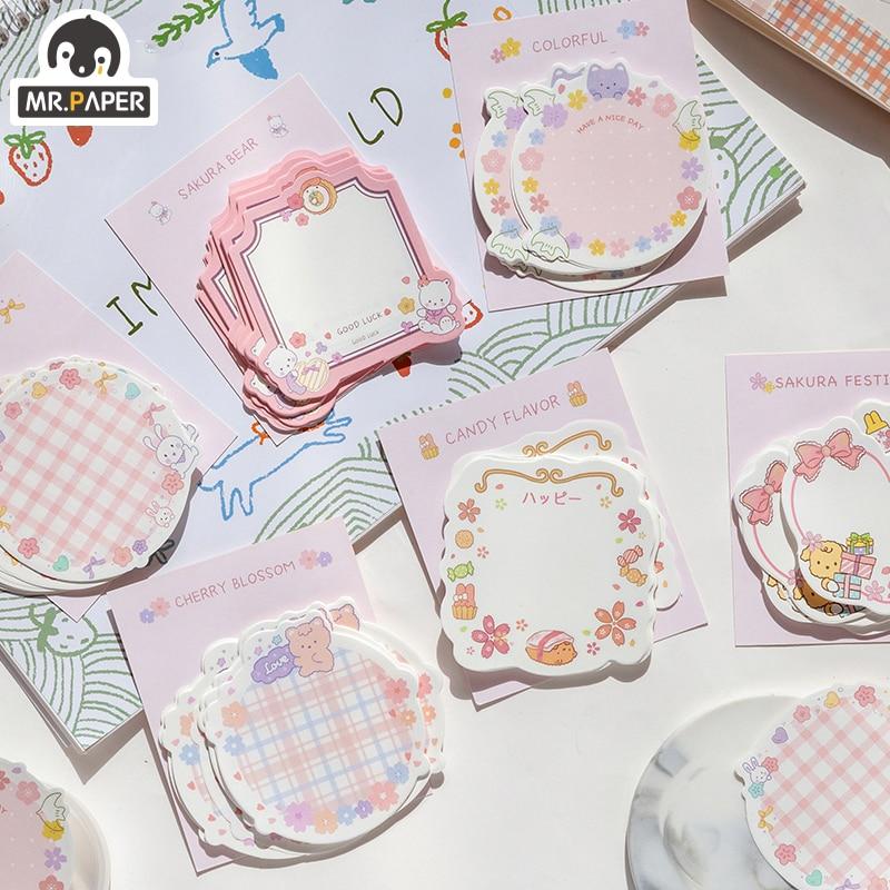 Mr.Paper 30pcs/lot 6 Designs Girlish Sakura Cherry Note Series Loose Leaf Memo Pads Creative Celebrating Christmas Memo Pads