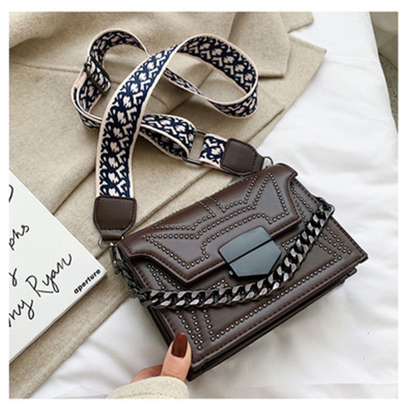 Vintage Rivets Crossbody Bags For Women 2020 Fashion Chains Shoulder Messenger Bag Ladies Clutch Casual Totes Female Handbags