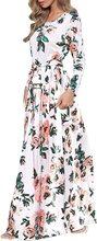 Women Summer Floral Print Maxi Dress White Boho Beach Dress Evening Party Long Dress Plus Size Female