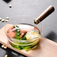 Glas Milch Topf mit Holz Griff 400Ml Kochen Topf für Salat Nudeln Gas Herd Kochgeschirr