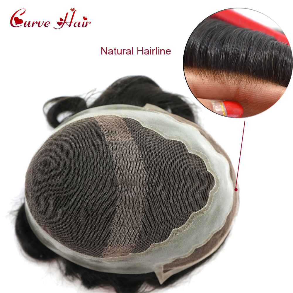 Natural Black Human Hair Toupee Light To Medium Density Bleached French Lace Front 100% Human Hair System PU Around Hairpieces