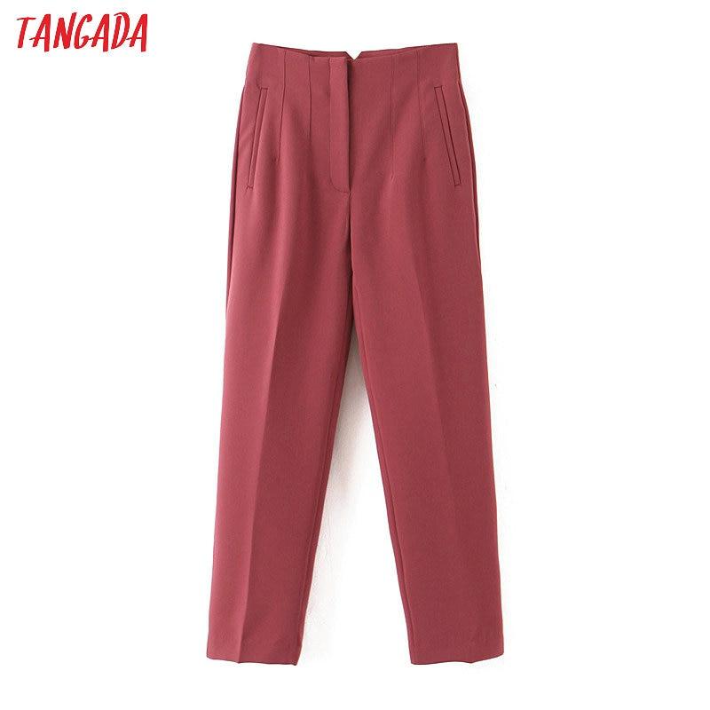 Tangada Pink Suit Pants For Women High Waist Pants Elegant Office Ladies Pants White Black Korean Fashion Suit Pants QB110