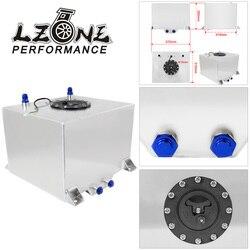 LZONE - 30L Aluminum Fuel Surge tank mirror polish Fuel cell with cap/foam inside, with sensor JR-TK68