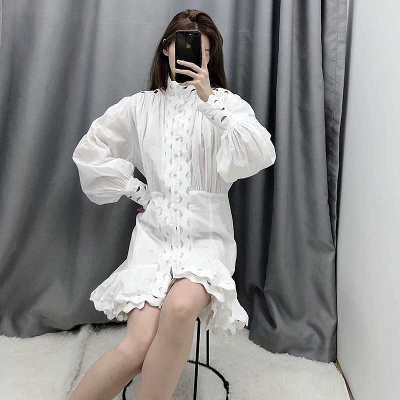 Mode évider noir blanc robe femmes lanterne à manches longues Streetwear Mini robes col montant solide fête Ropa Mujer S-L