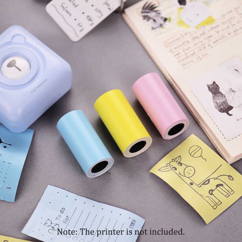 Rollo de papel adhesivo de Color papel de impresora térmica directa con autoadhesivo 57*30mm para PeriPage A6/ a8 para impresora PAPERANG P1/P2