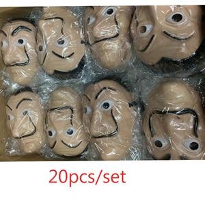 Image 1 - wholesale 20pcs/lot Plastic Dali mask La Casa De Papel Cosplay Props Halloween Yacht Carnival Dance Party Face Shield