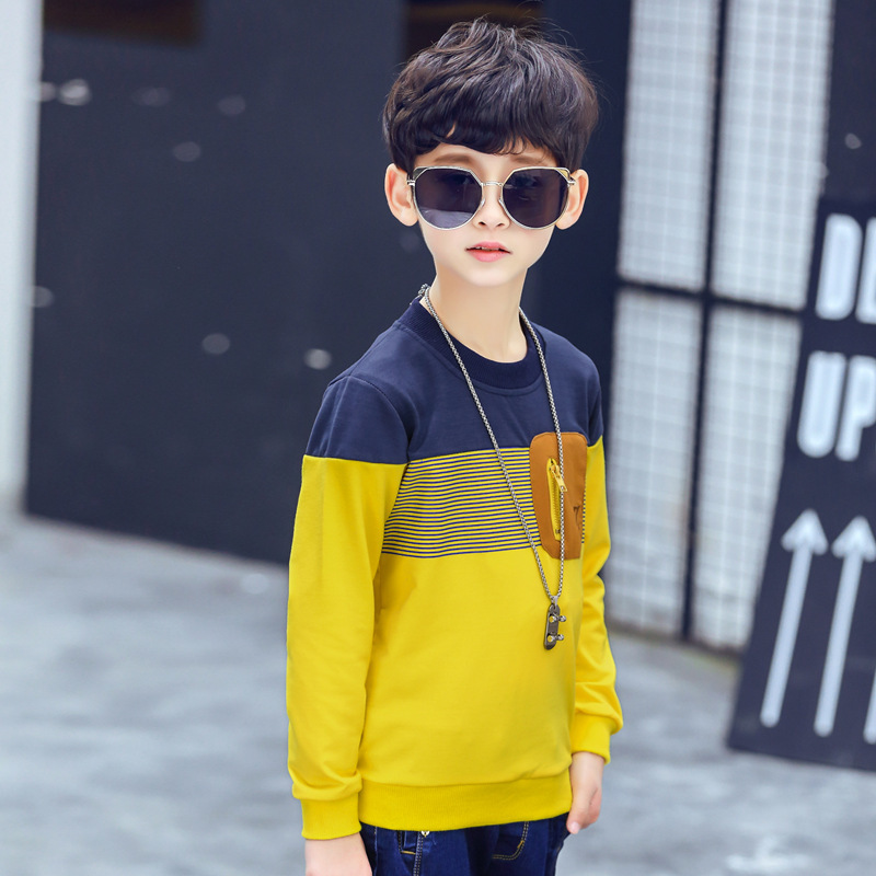 Childrenswear Boys T-shirt 2018 Spring Clothing New Style Middle And Large Children Casual Versatile Male Baby Long-sleeved Uppe