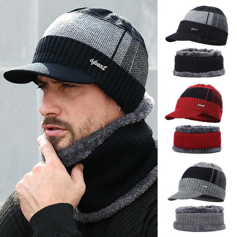 Warmer Knitted Hat Scarf Set Fur Wool Lining Thick Warm Knit Beanies Winter Warm Sets For Men Women Cap Skullies Bonnet