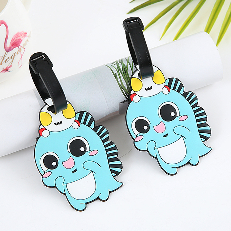 Cartoon Fish Luggage Tags Holder ID Address Portable Suitcase Silica Gel Baggage Boarding Label Travel Accessories