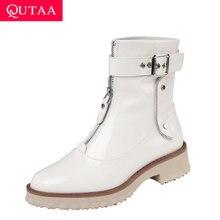 QUTAA 2020 krowa lakierki na średnim obcasie moda kobiet buty okrągłe Toe zamek błyskawiczny z przodu zaczep klamrowy i pętli kostki rozmiar butów 34 42