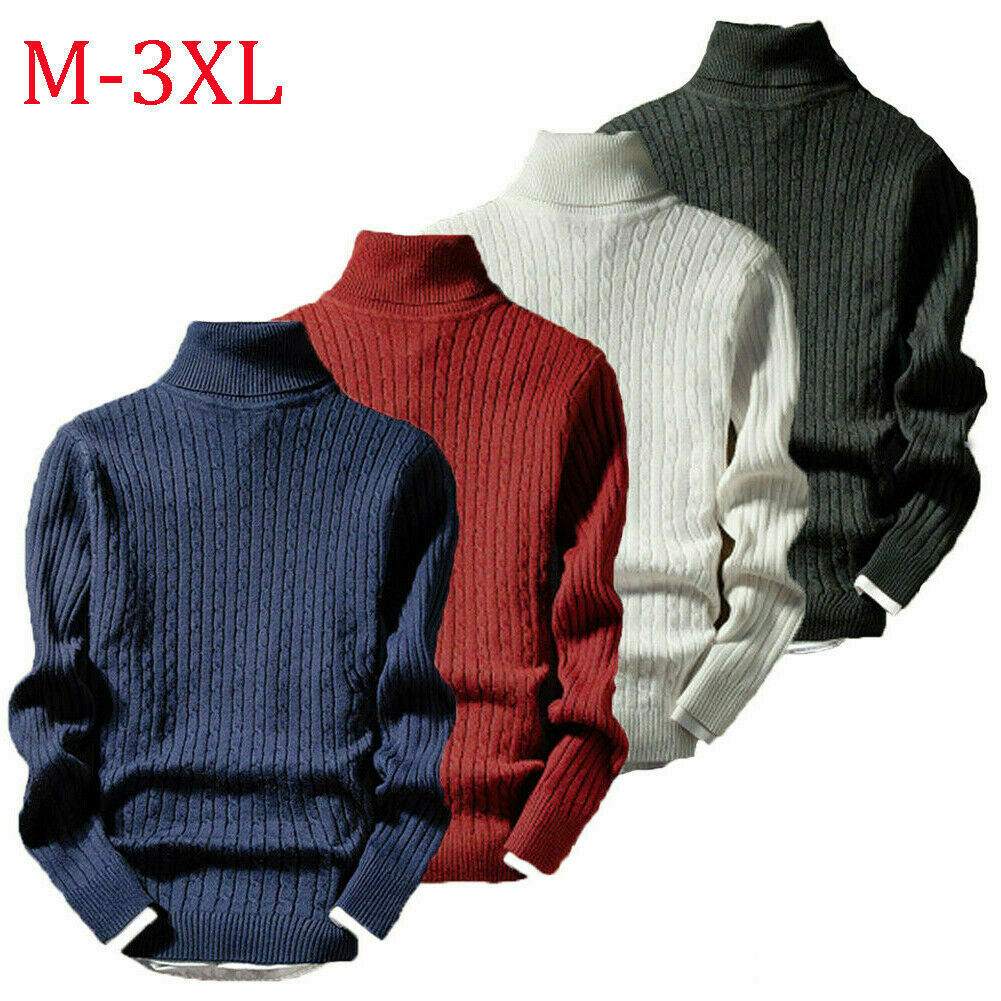 New Men's Winter Warm High Neck Jumper Sweater Turtleneck Knitwear Stretch Slim Tops Fashion Male Black Pullover Sweaters