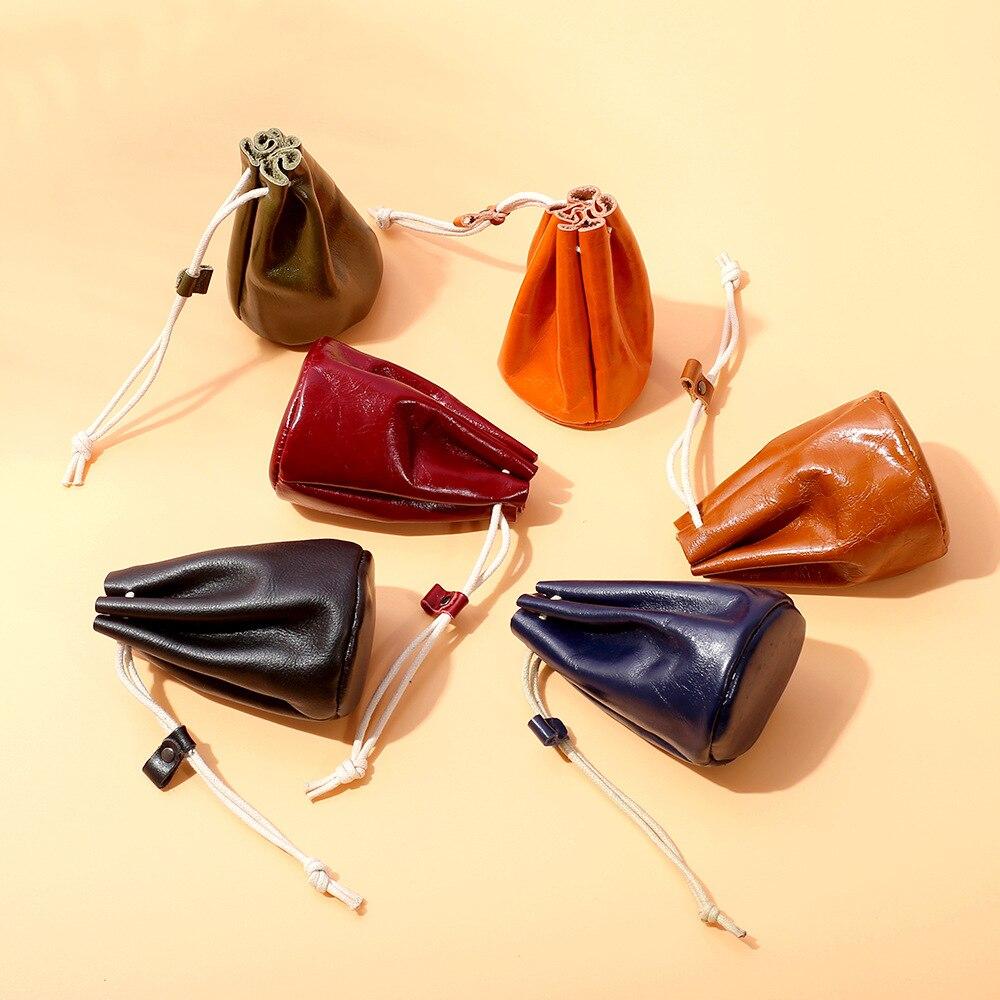 Japan Creative Wallet Women's Retro Oil Wax Cowhide Multi-functional Small Coin Lipstick Storage Cute Earphone Bag