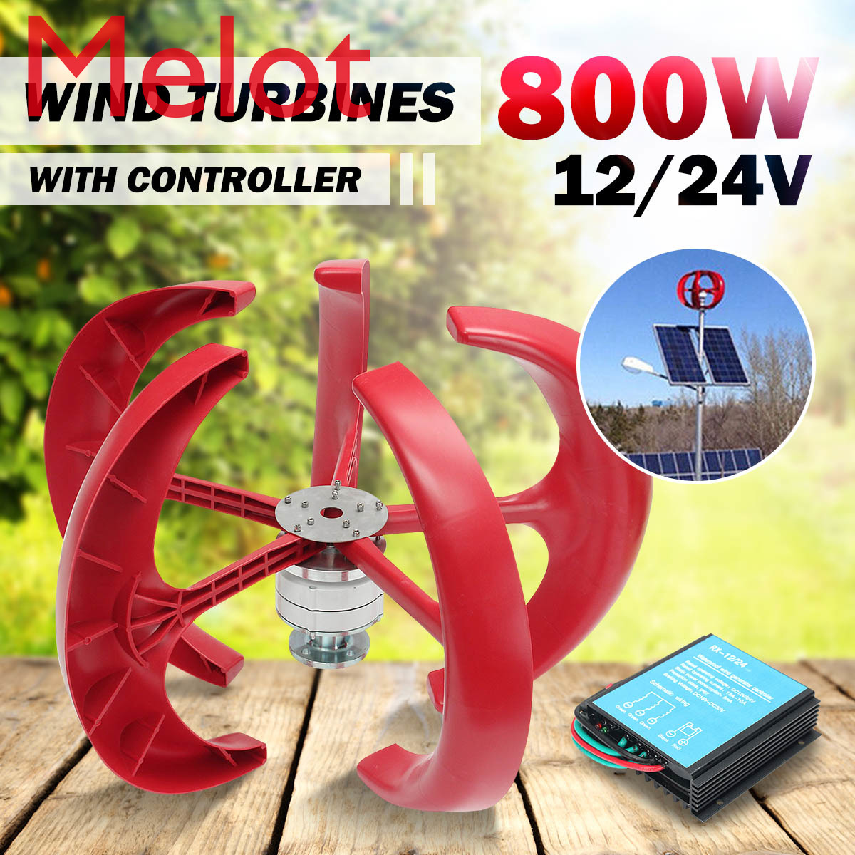 <font><b>800W</b></font> 12V/24V <font><b>Wind</b></font> Power <font><b>Generator</b></font> Vertical <font><b>Wind</b></font> T urbine Lantern 5 Blades Motor with controller for home streelight Hy brid use image