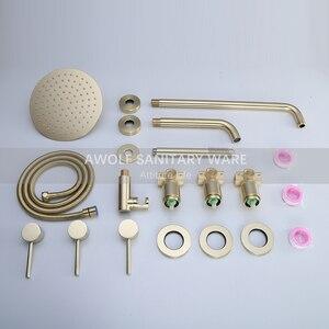 """Image 5 - Badkamer Douche Set Geborsteld Rose Gold Eenvoud Massief Messing 8 """"Douchekop Mengkraan Douche Bad Zwart Chroom AH3023"""