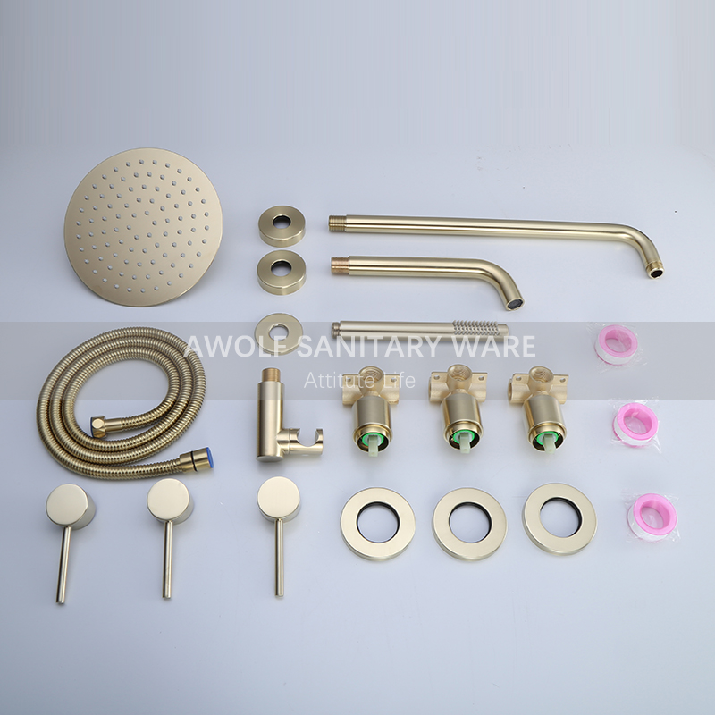"Image 5 - Bathroom Shower Set Brushed Rose Gold Simplicity Solid Brass 8"" Shower Head Faucet Mixer Tap Shower Bath Black Chrome AH3023Shower Faucets   -"