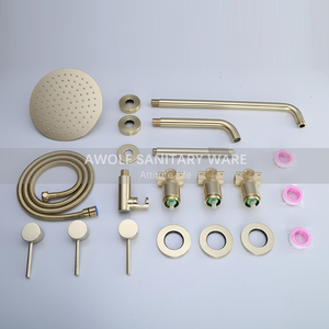 "Image 5 - Bathroom Shower Set Brushed Rose Gold Simplicity Solid Brass 8"" Shower Head Faucet Mixer Tap Shower Bath Black Chrome AH3023"
