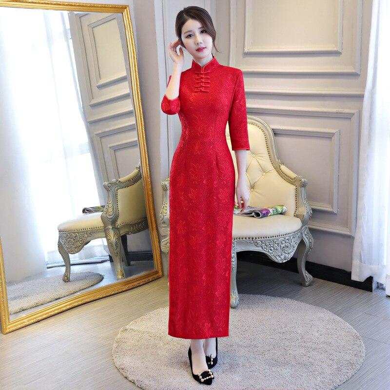 Sexy Lace Split Cheongsam  Chinese Women Evening Dress  Elegant Slim Long Qipao Chinese Bride Wedding Dresses Plus Size S-4XL