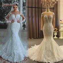Vestido de novia de encaje con mangas largas nupciales, sirena, 2020