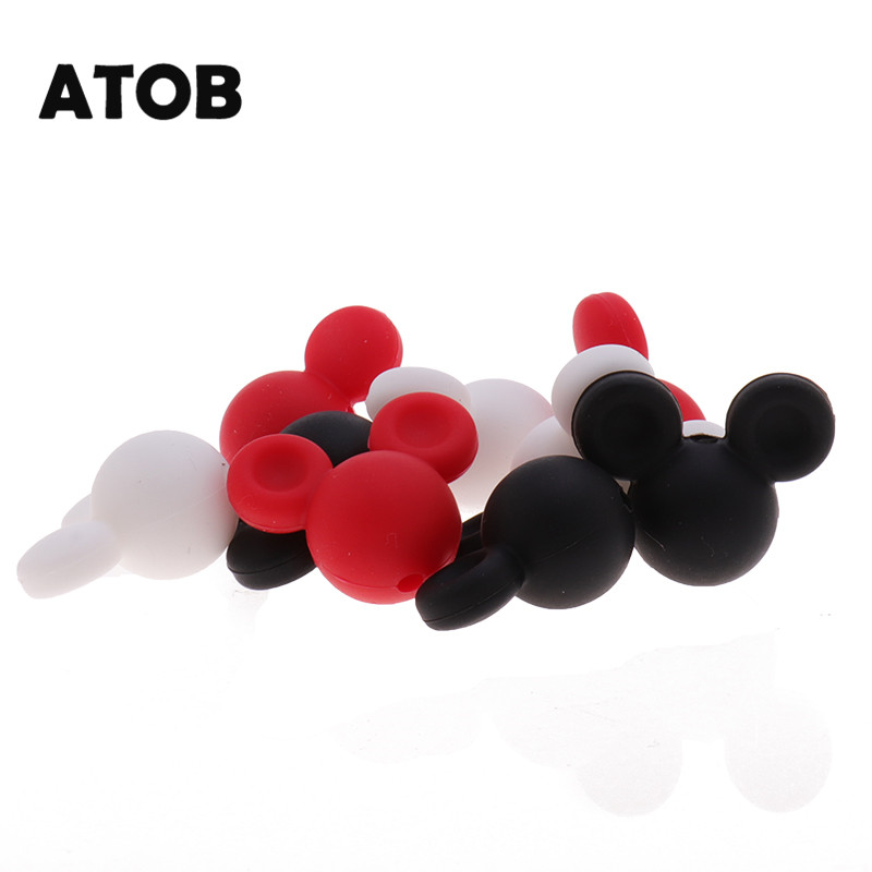 ATOB 50pcs Food Grade Silicone Beads Mouse Cute Cartoon Animal Baby Teething Beads BPA Free Chewable Silicone Baby Teether