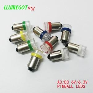 Image 1 - 50 шт. BA9S T4W #44 #47 плоский купол 2x 5630SMD различные цвета неполярность AC DC 6V 6,3 V Bally Pinball Игровая Машина светодиодные лампы