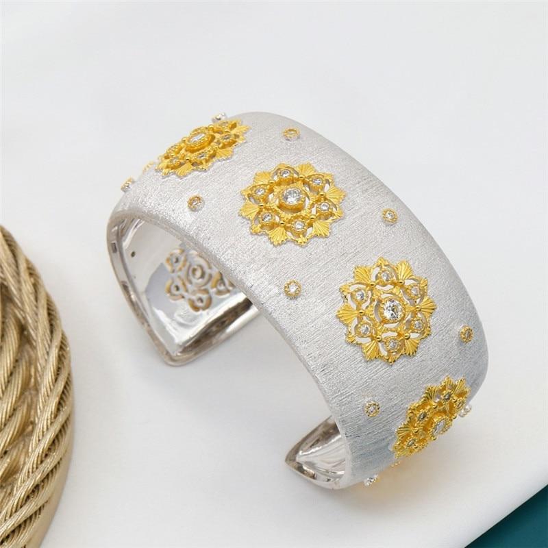 CMajor S925 Sterling Silver Fine Jewelry Delicate Temperament Flower Shape Wide Cuff Bangles for Women Valentine's Day Gift - 3