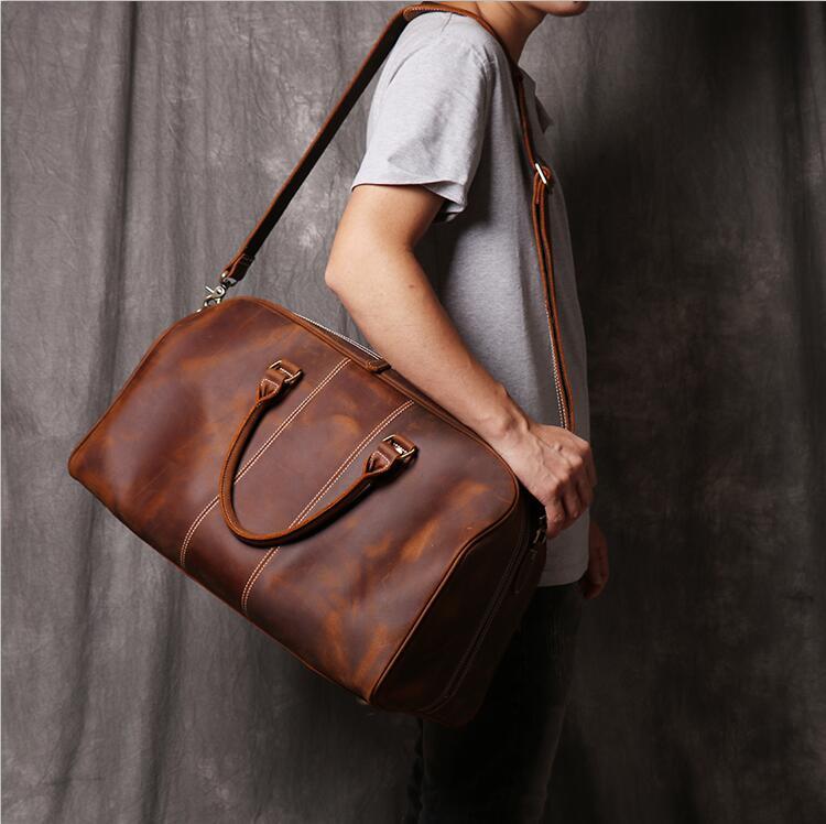 MAHEU Fashionable Big Travel Shoulder Bag Genuine Leather Travel Weekender Bag Leather Duffle Tote Bag For Men Boy Large Size 50