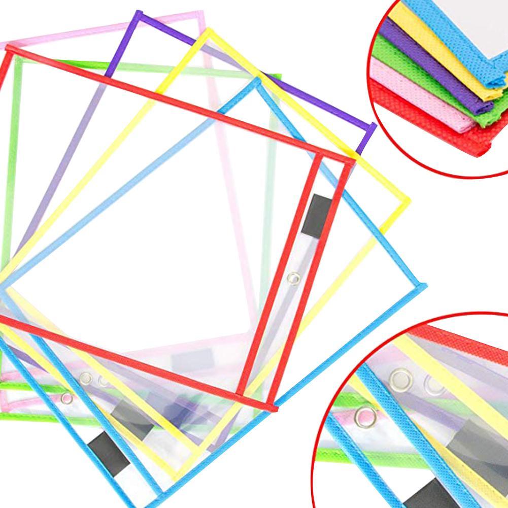Original Kids Transparent Write Wipe Pockets Reusable Dry Erase Pockets Sleeves 6 Assorted Colors With Pen Holder Hot Sale