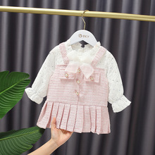 Autumn Baby Girl's Bow Sequined Pleated Fake Two-Piece Sweet Long Sleeve Princess Dress Kids