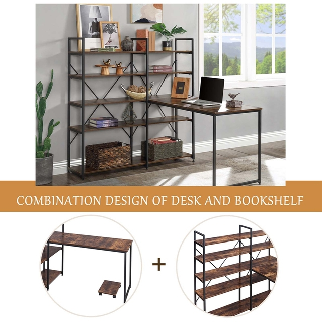 """Home Office 54"""" Large Computer Desk with 5-tier Shelves 3"""