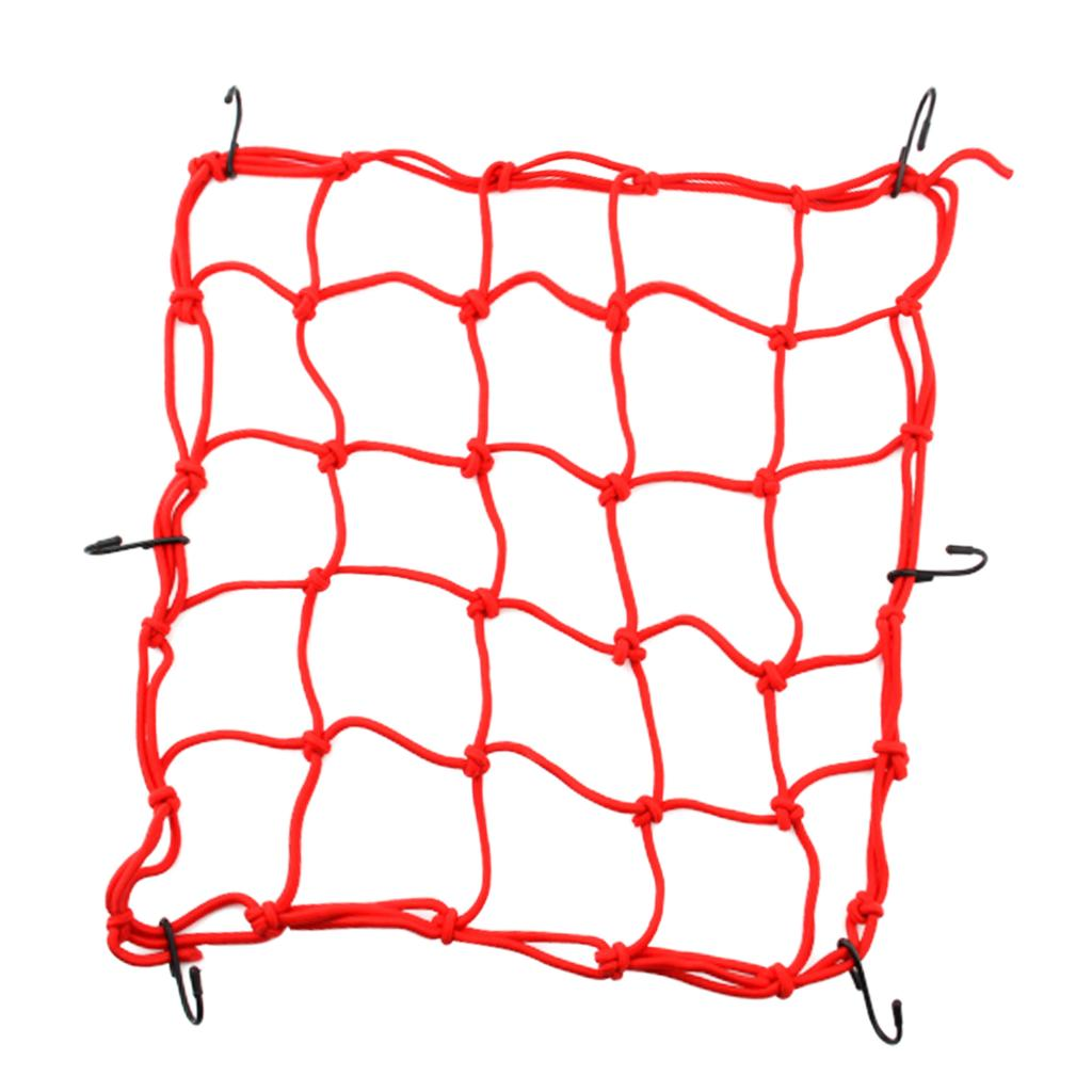 Helmet Luggage Strap Bungee Cord 16x16 Inch Elastic Motorcycle Bicycle Cargo Net Mesh with 6 Pieces Hooks