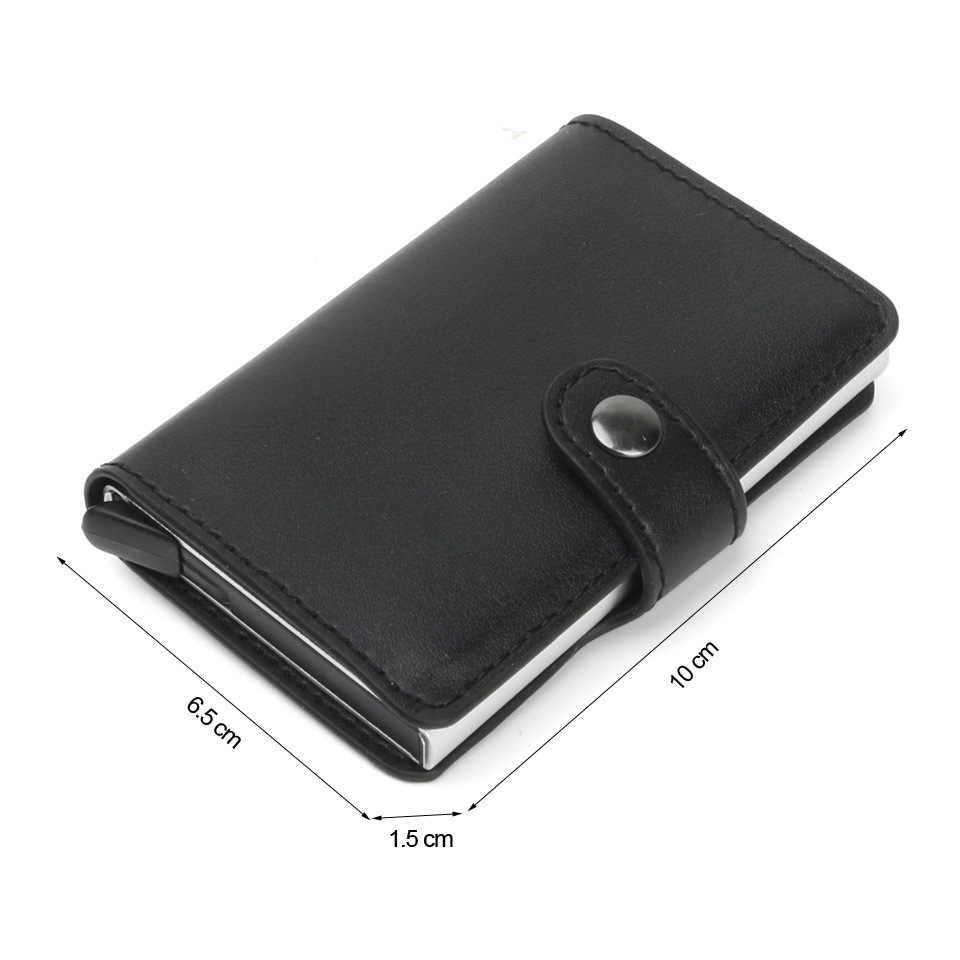Anti Rfid blokowanie ochrony mężczyźni id etui na karty kredytowe portfel skórzany Metal aluminium kart bankowych dla ludzi biznesu przypadku posiadacza karty