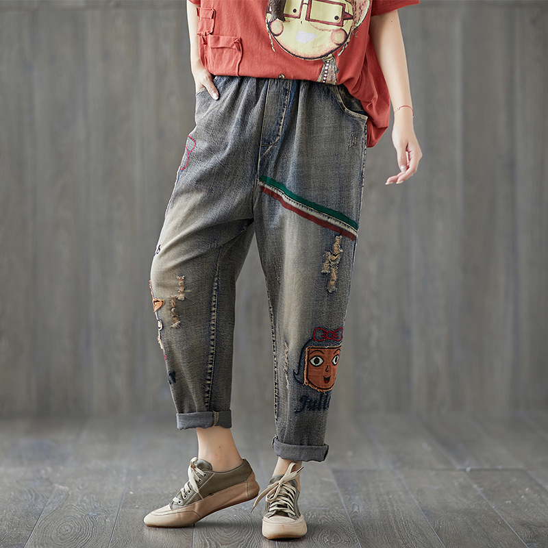Photo Shoot 2018 Autumn New Style Literature And Art Loose And Plus-sized Cartoon Embroidered Jeans Elastic Waist Harem Pants