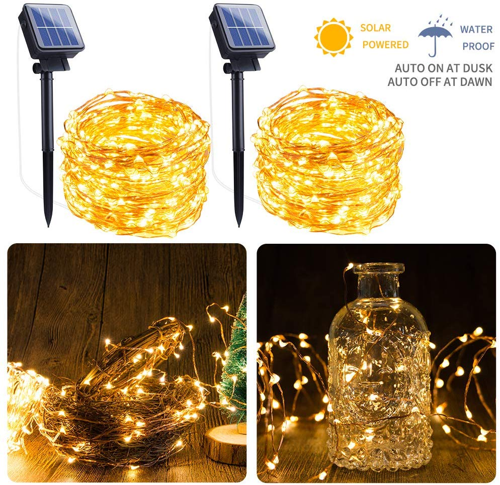 Solar Light Fairy Lights 12M/22M/32M/42M/52M Outdoor Solar String Light LED Garden Copper Wire Decorative Lights Waterproof