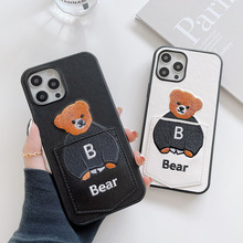 Luxury Cartoons Cute B Bear leather phone case for apple iphone 12 Pro Max 7 8 Plus X 12 XR MAX 11Pro SE 2020 Card package cover
