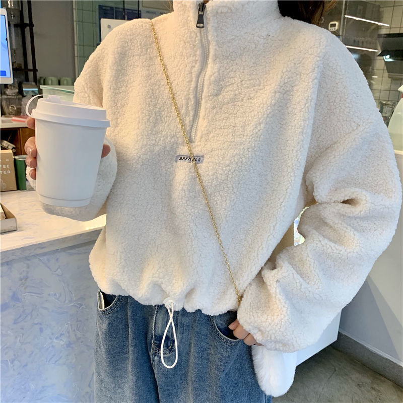 Autumn winter hoodies women new imitation lamb velvet short plus velvet thick hooded sweatshirt female loose student jacket tops
