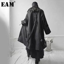 [EAM] Loose Fit Black Buckle Asymmetrical Big Size Long Jacket New Lapel Long Sleeve Women Coat Fashion Tide Spring 2021 1S655