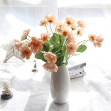 1pc piękne sztuczne kwiat maku 2 głowice sztuczne jedwabne kwiaty DIY dekoracje do domu na imprezę sztuczne kwiaty zdjęcie ślubne rekwizyty tanie tanio Plum blossom Kwiat Oddział Ślub Artificial Poppy Fake flowers Silk Flowers