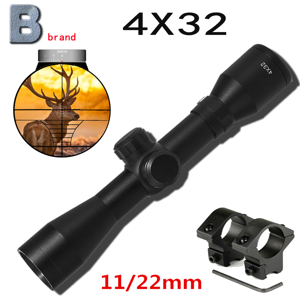 B brand 4X32 Optical Sight Etched Glass Tactical Riflescope Sight Scope Rifle Hunting optics red dot holographic sight cqb